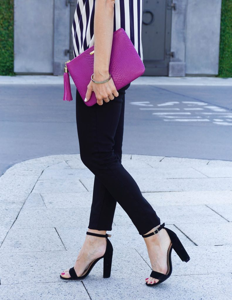 Summer Date Night Outfit | Black Skinny Jeans | Block Heel Sandals | Houston Fashion Blogger Lady in Violet