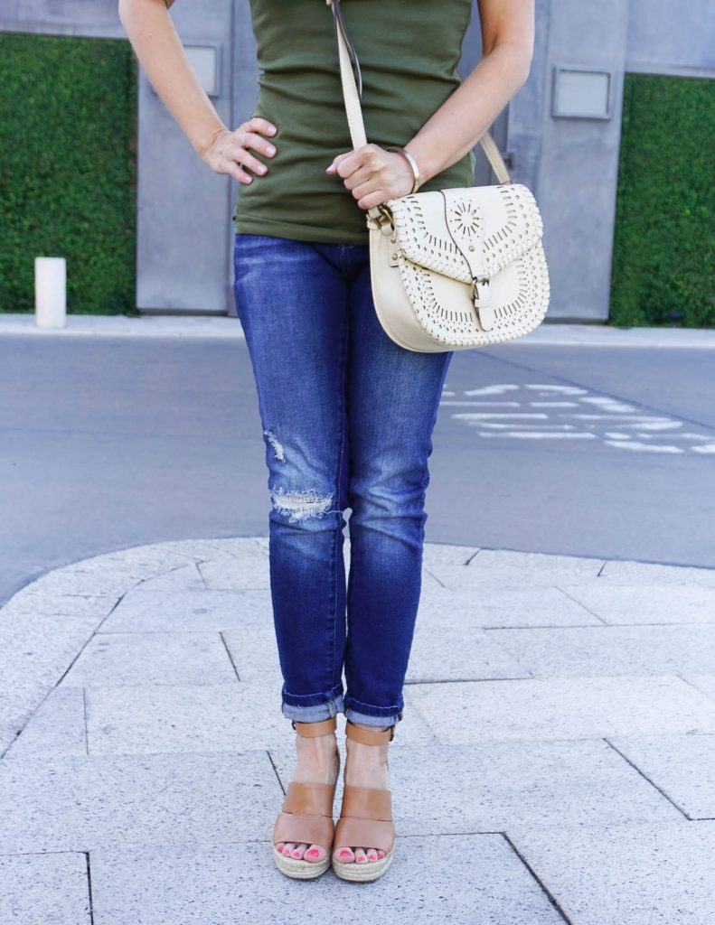 Summer Fashion | Distressed Jeans | Brown Wedges | Houston Fashion Blogger Lady in Violet