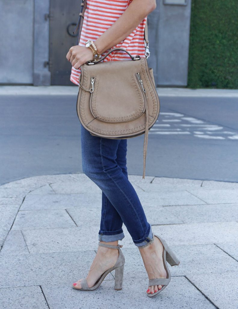 Summer Outfit | Cuffed Jeans | Taupe Block Heel Sandals | Houston Fashion Blogger Lady in Violet