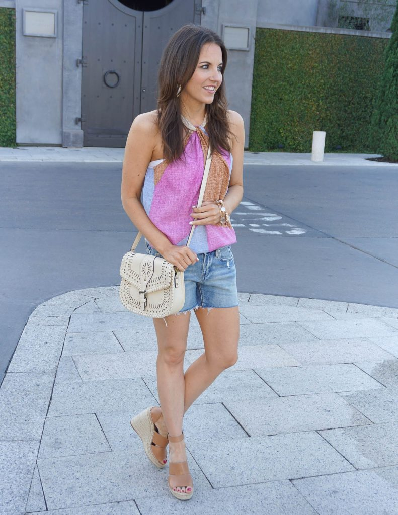 Summer Fashion | Halter Top | Jean Shorts | Wedge Sandals | Houston Fashion Blogger Lady in Violet