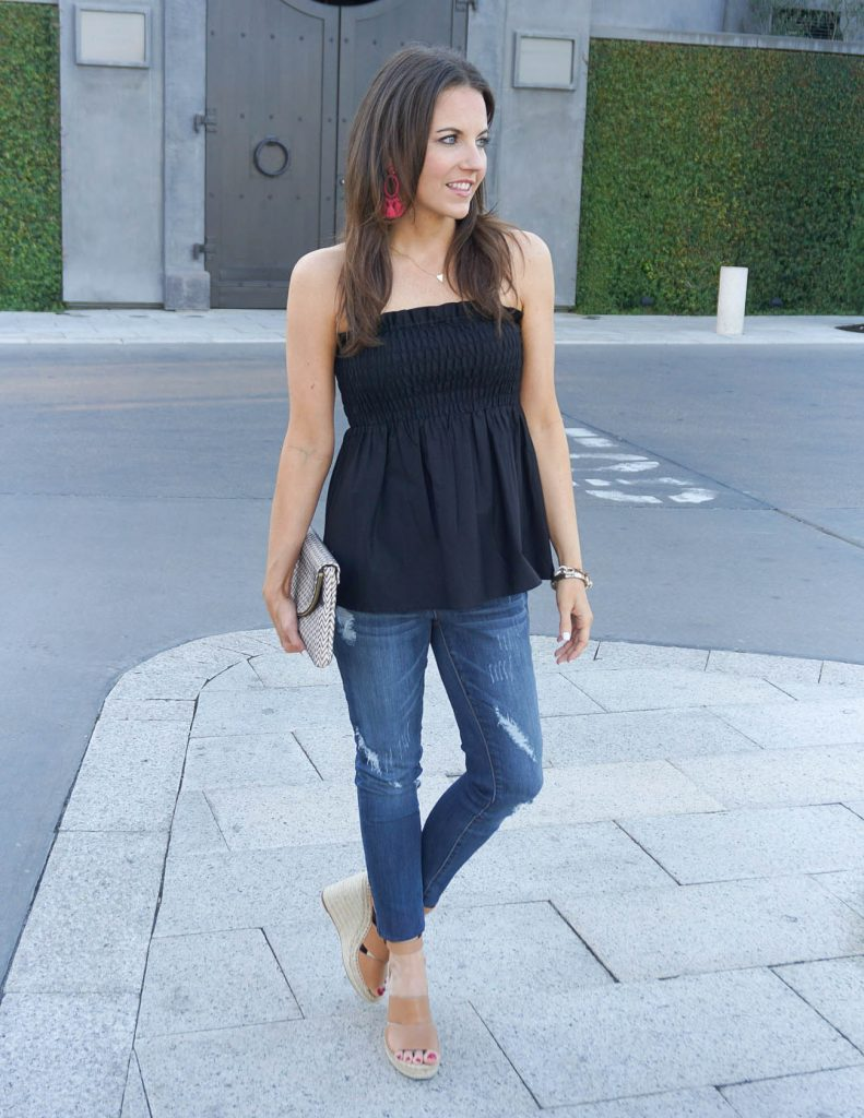 Summer Outfit | Black Bandeau Top | Distressed Skinny Jeans | Houston Fashion Blogger Lady in Violet