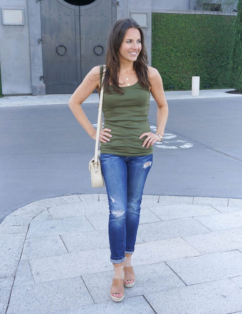 Summer Outfit | Olive Green Tank Top | Distressed Skinny Jeans | Houston Fashion Blogger Lady in Violet
