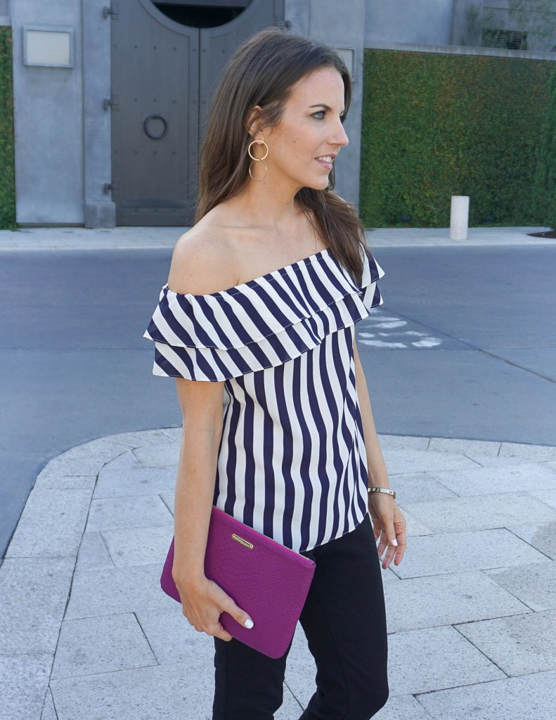 Girls night out outfit | Double Hoop Earrings | Asos Ruffle Off the Shoulder Top | Houston Fashion Blogger Lady in Violet