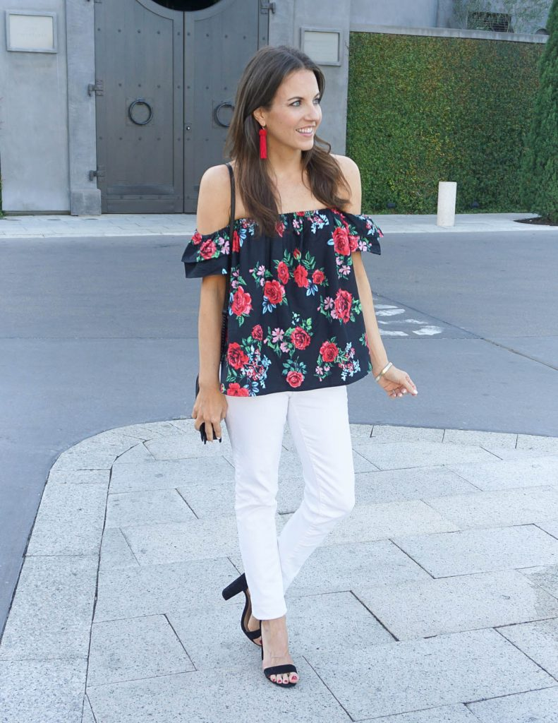 Summer Outfit | Floral Off the Shoulder Top | White Skinny Jeans | Houston Fashion Blogger Lady in Violet