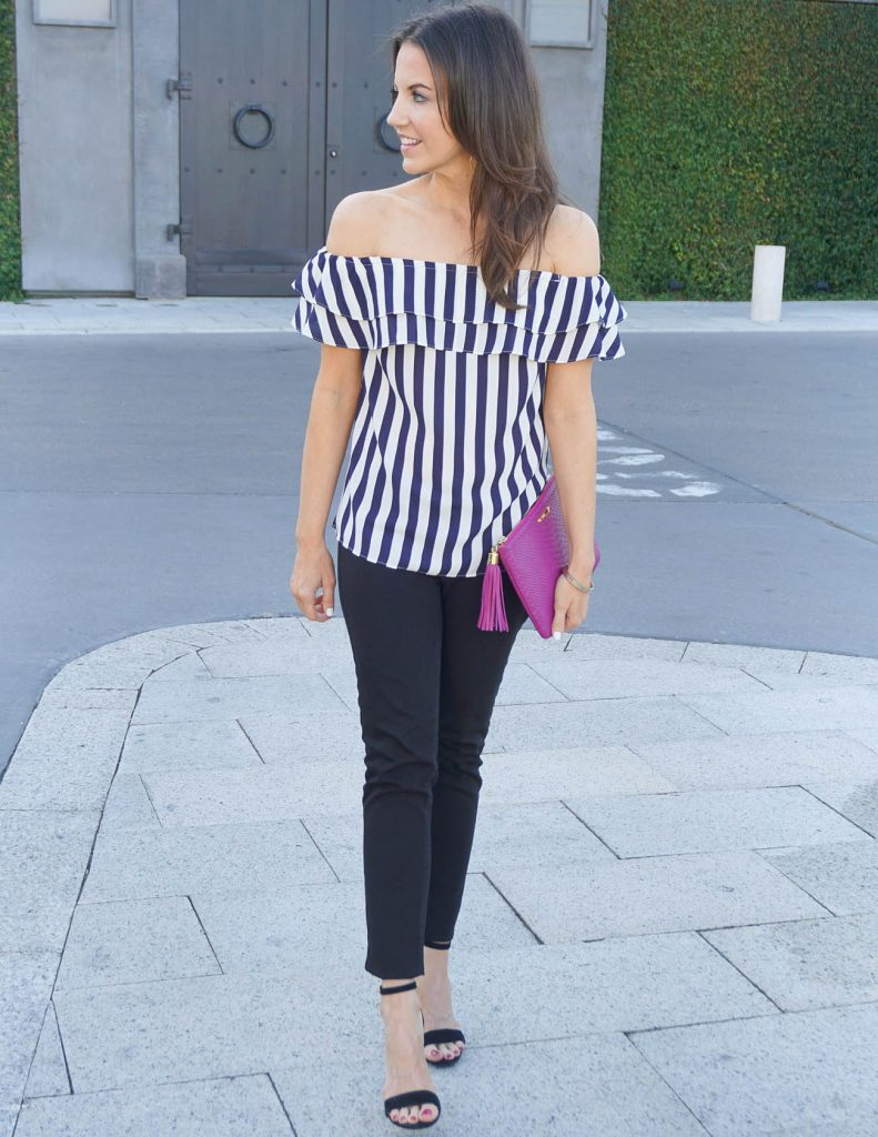 Summer Outfit | Off the Shoulder Top | Black Skinny Jeans | Houston Fashion Blogger Lady in Violet