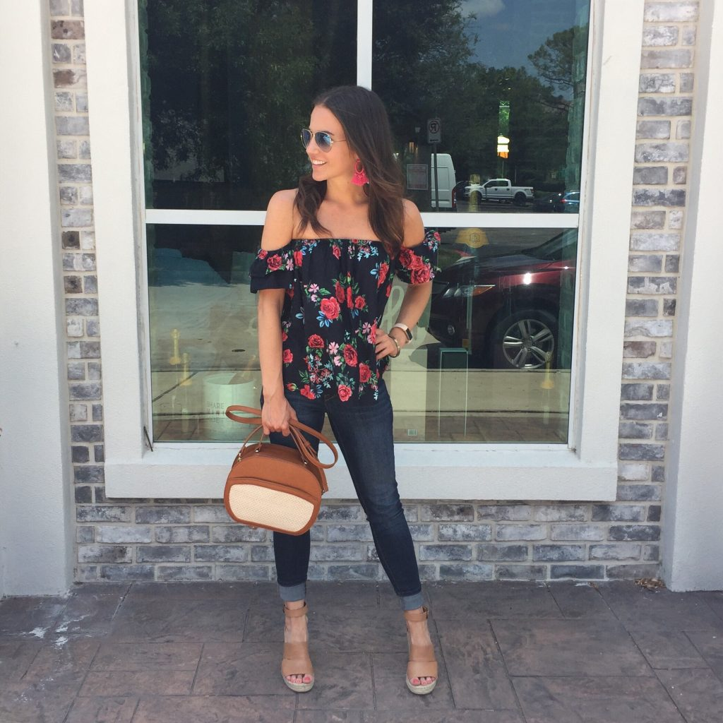 Summer Outfit | Floral Off the Shoulder Top | Skinny Jeans | Brown Wedges | Houston Fashion Blogger Lady in Violet