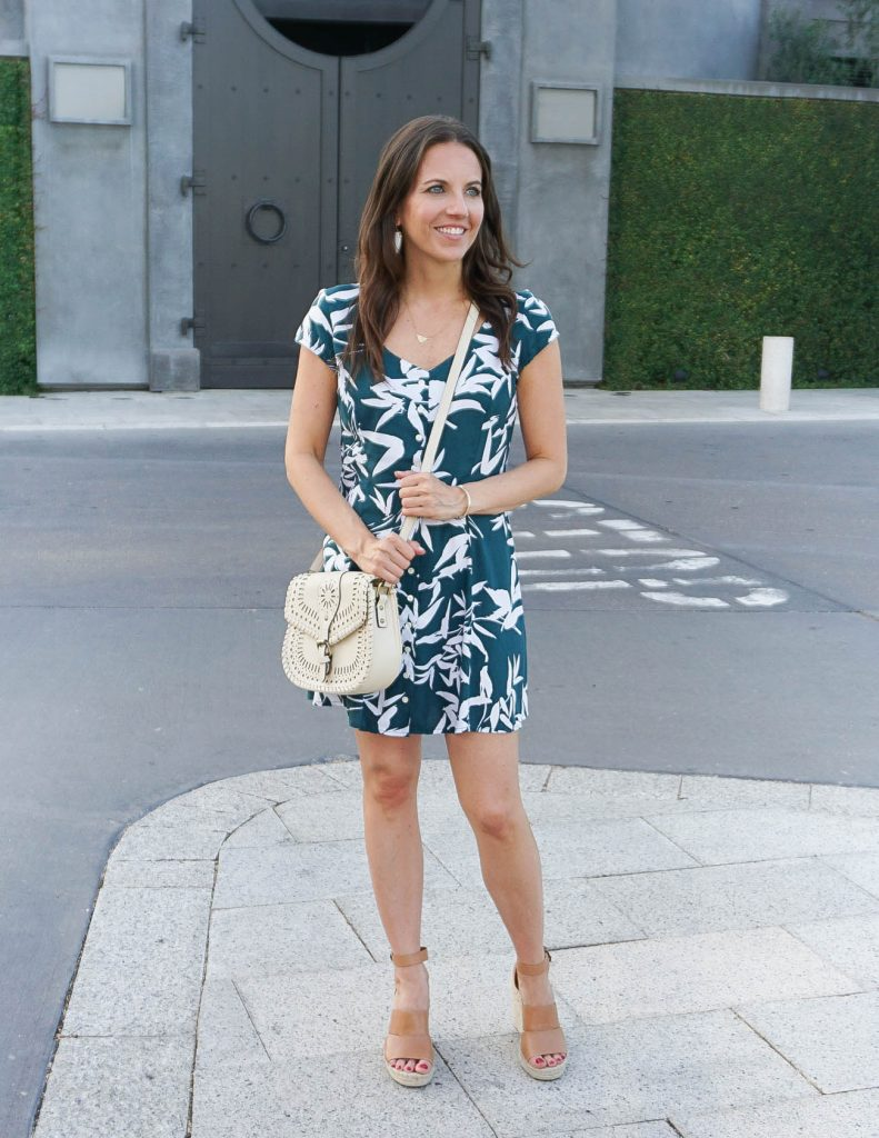 Summer Outfit | Palm Print Dress | Brown Wedges | Houston Fashion Blogger Lady in Violet