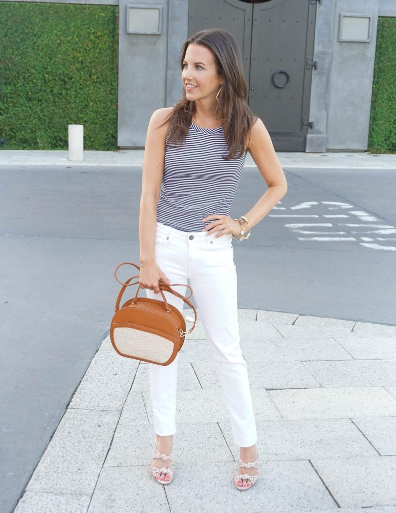 Summer Outfit | Striped Tank Top | White Jeans | Houston Fashion Blogger Lady in Violet