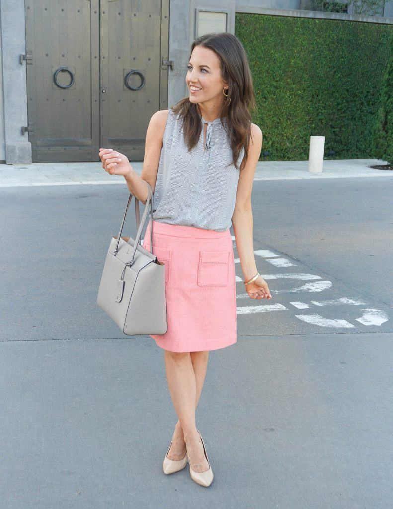 Work Outfit | Coral Pencil Skirt | Gray Blouse | Houston Fashion Blogger Lady in Violet