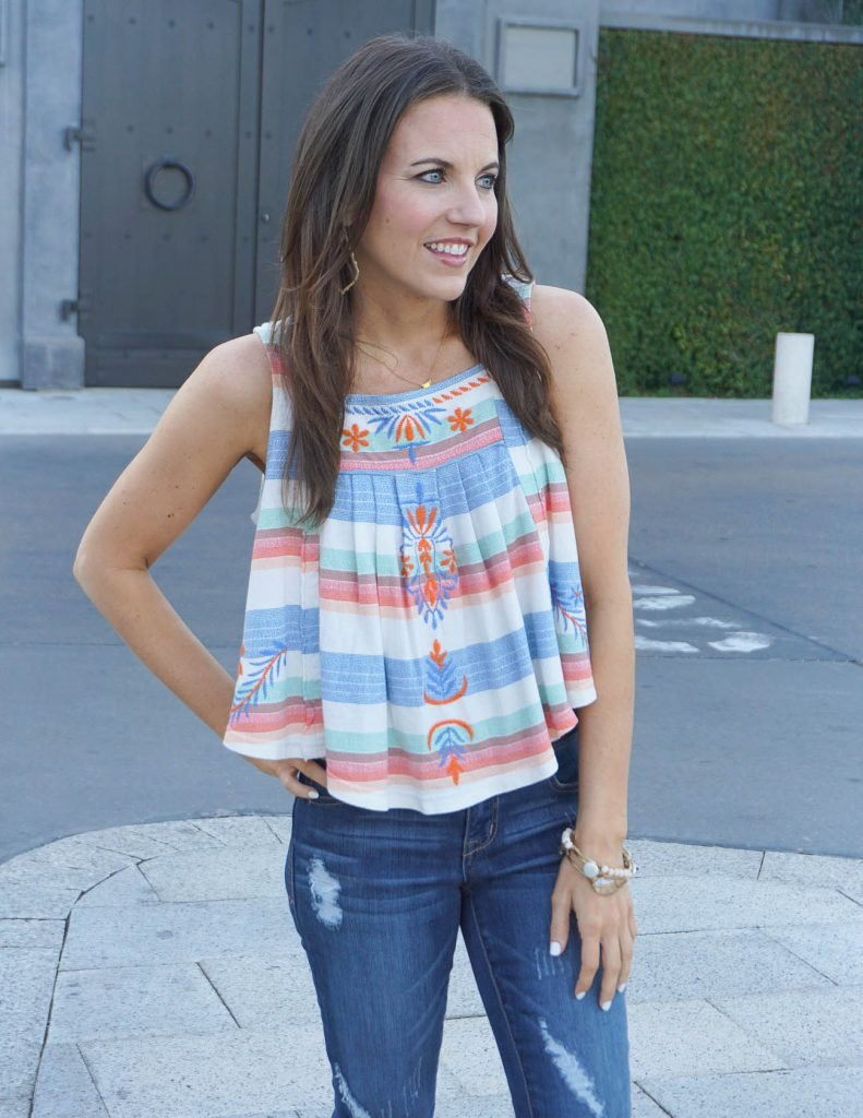 Casual Outfit | Summer Crop Top | Distressed Jeans | Houston Fashion Blogger Lady in Violet