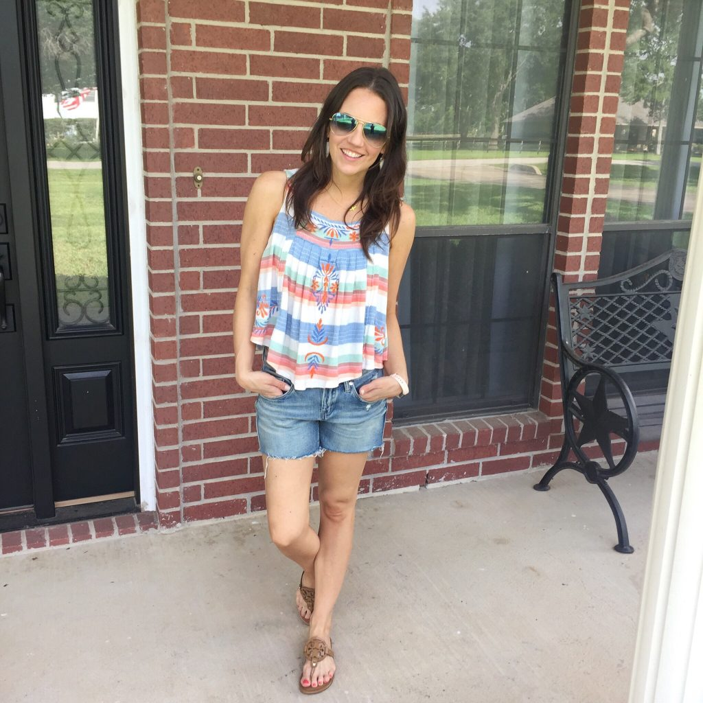 Summer Outfit | Striped Crop Top | Distressed Shorts | Houston Fashion Blogger Lady in Violet