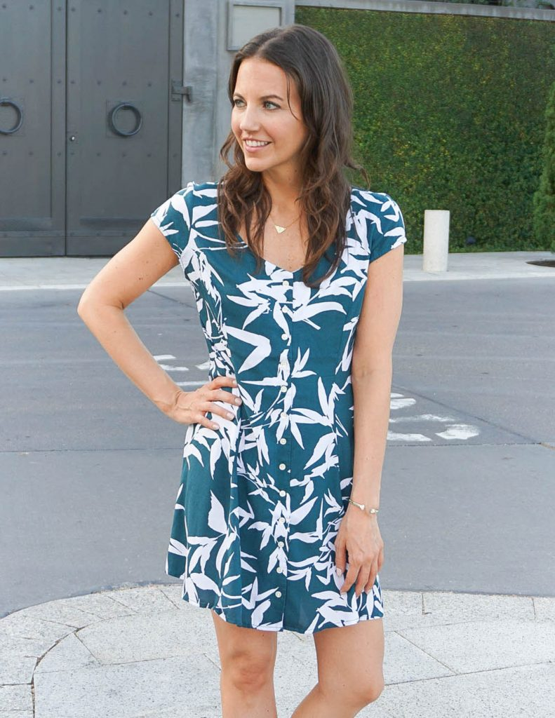 Weekend Outfit | Tropical Leaf Print Dress | Summer Style | Houston Fashion Blogger Lady in Violet