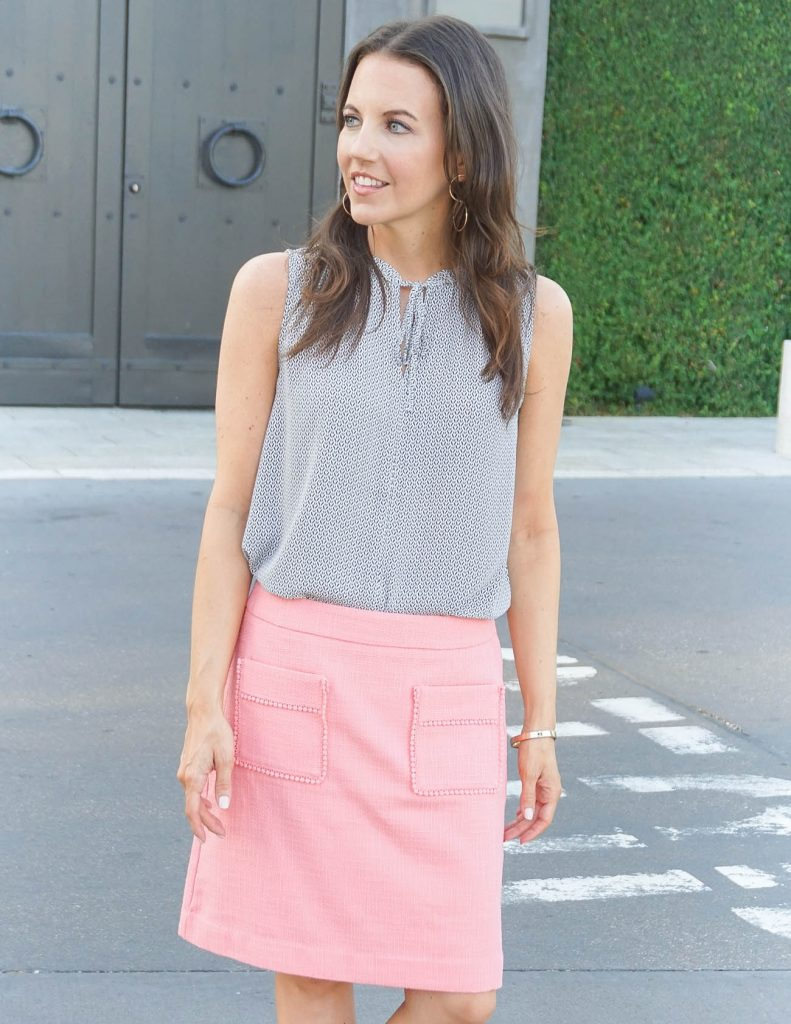 Workwear | Loft Patch Pocket Skirt | Tie Neck Blouse | Houston Fashion Blogger Lady in Violet