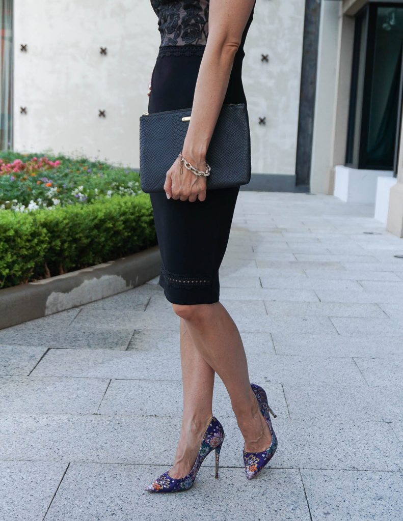 Date Night Outfit | Black Bodycon Dress | Floral Heels | Houston Fashion Blogger Lady in Violet