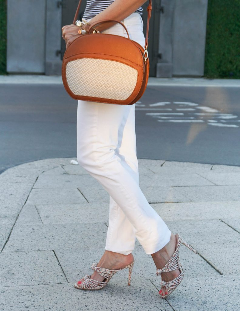 Dressy Casual Outfit | White Skinny Jeans | Canteen Crossbody Bag | Houston Fashion Blogger Lady in Violet