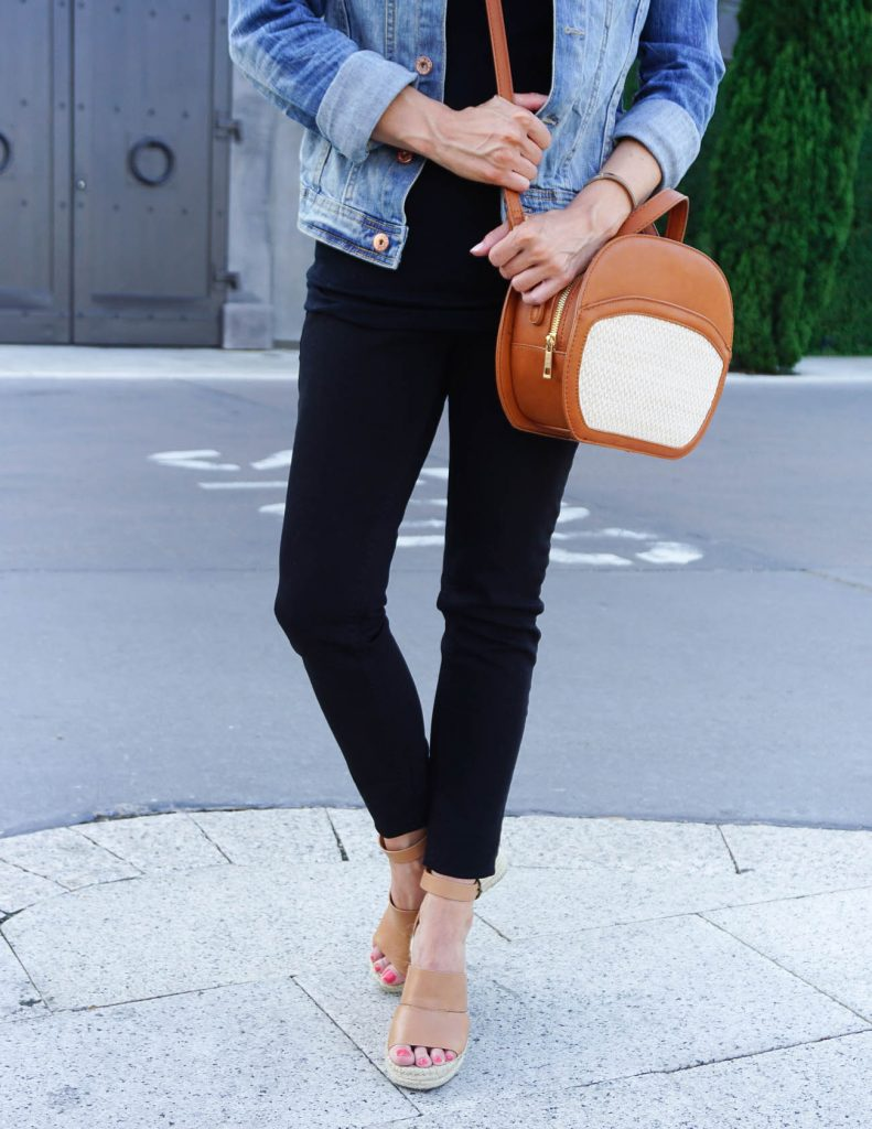 Summer Outfit | Black Skinny Jeans | Brown Espadrille Wedges | Houston Fashion Blogger Lady in Violet