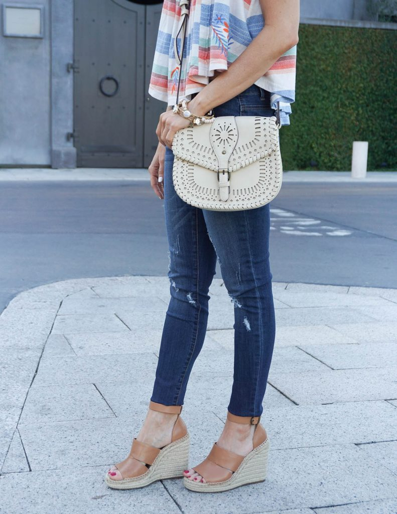 Weekend Outfit | Distressed Jeans | Cognac Brown Wedges | Houston Fashion Blogger Lady in Violet