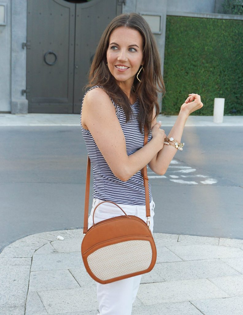 Summer Outfit | Striped Tank Top | Brown Canteen Purse | Houston Fashion Blogger Lady in Violet