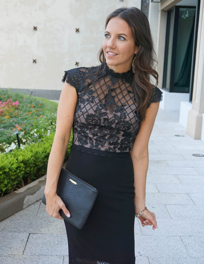 Summer Wedding Guest Dress   Lace Bodycon Dress   Drop Earrings   Houston Fashion Blogger Lady in Violet