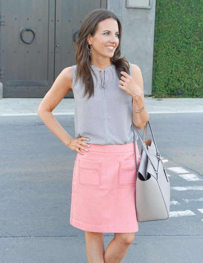Work Outfit | Pink Pencil Skirt | Gray Blouse | Houston Fashion Blogger Lady in Violet
