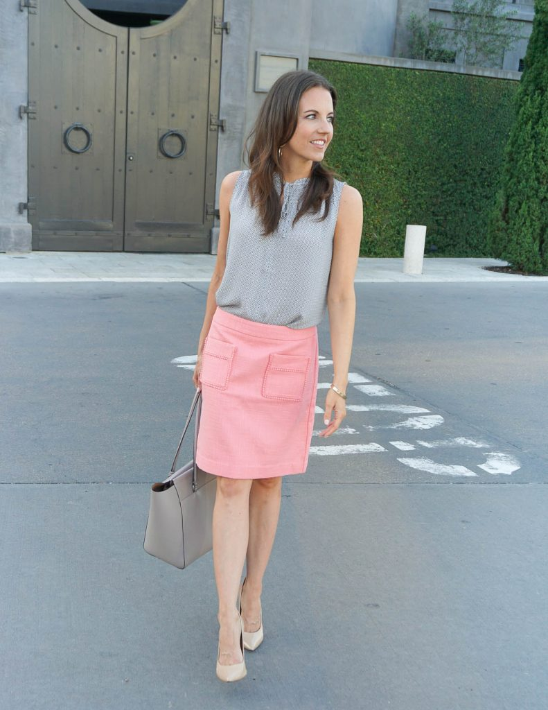 Summer Work Outfit | Coral Skirt | Gray Tote Bag | Houston Fashion Blogger Lady in Violet
