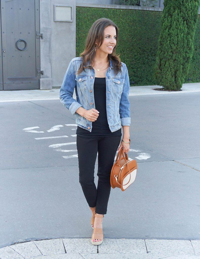 Weekend Outfit | All Black Outfit | Denim Jacket | Houston Fashion Blogger Lady in Violet