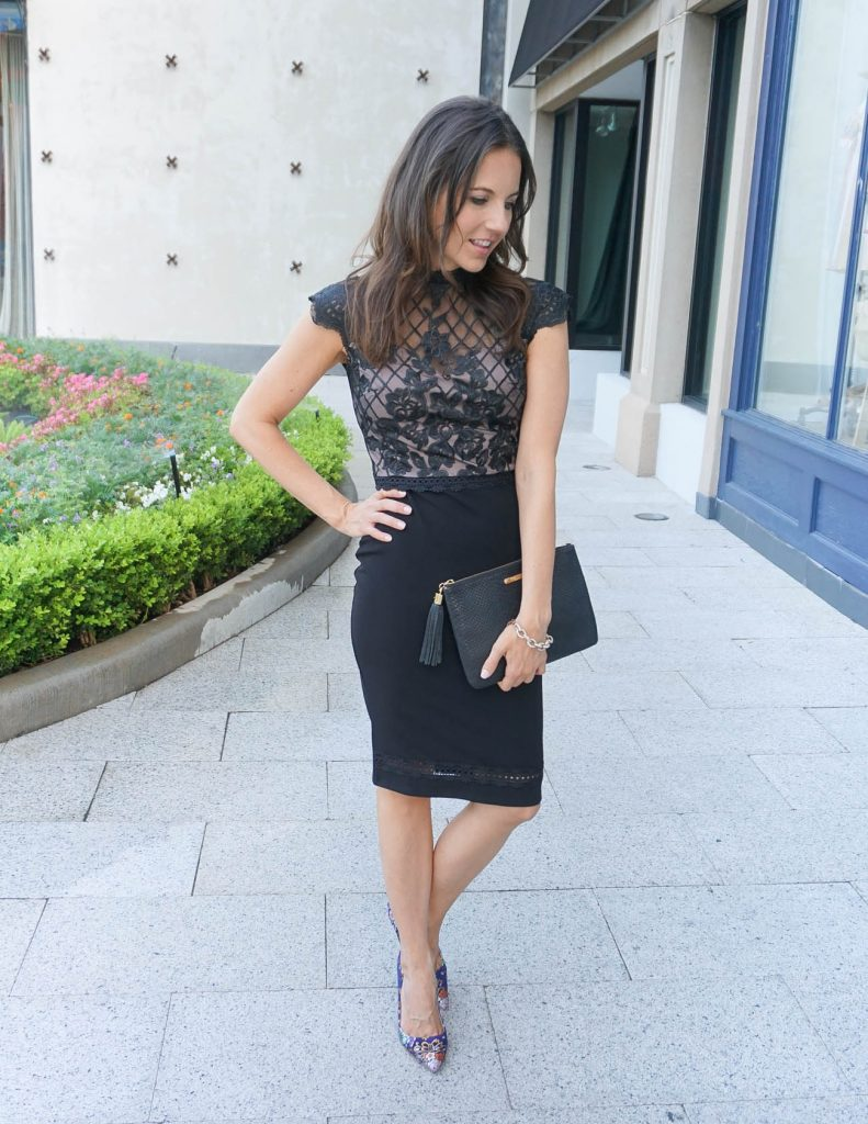 What to Wear to a Wedding | Black Lace Dress | Floral Heels | Houston Fashion Blogger Lady in Violet