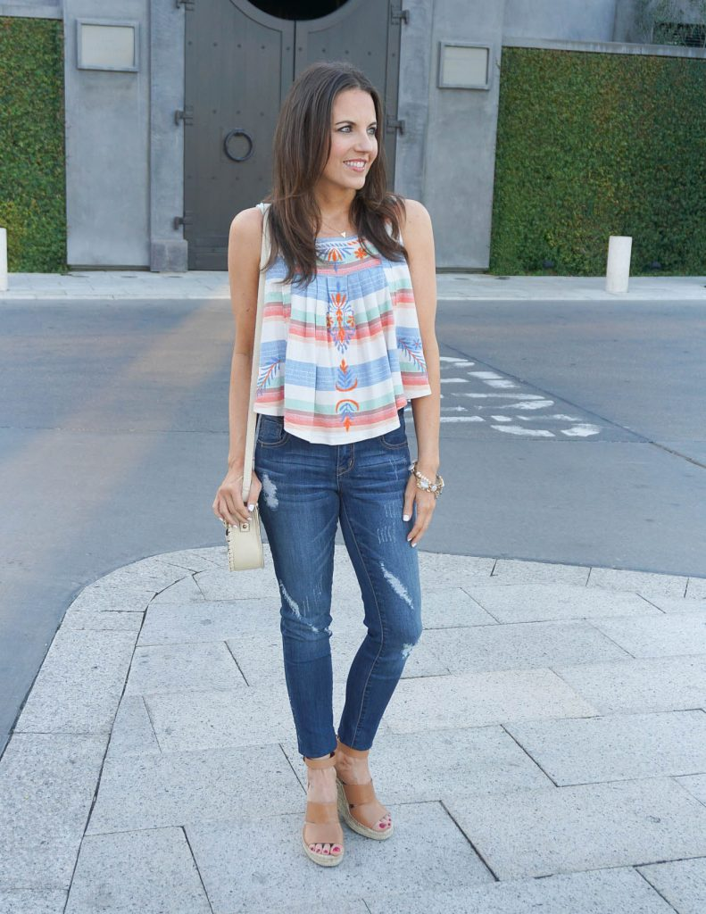 Casual Summer Outfit | Crop Top | Distressed Jeans | Houston Fashion Blogger Lady in Violet