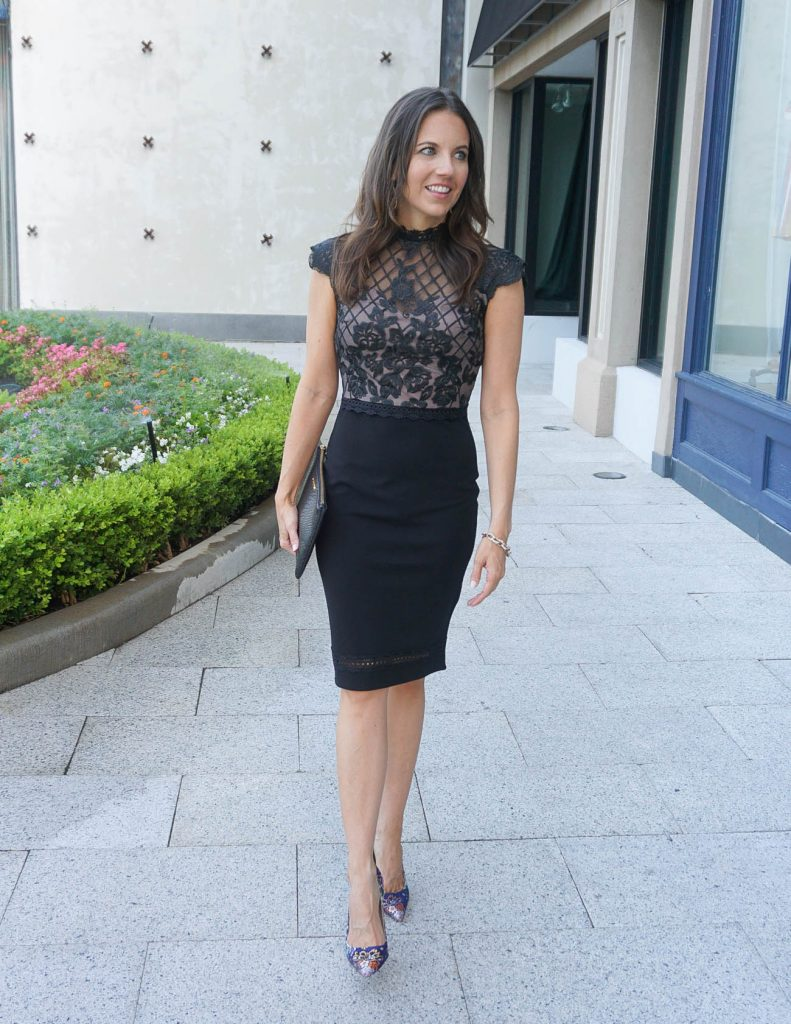 Date Night Outfit | Black Lace Dress | Floral Heels | Houston Fashion Blogger Karen Kocich