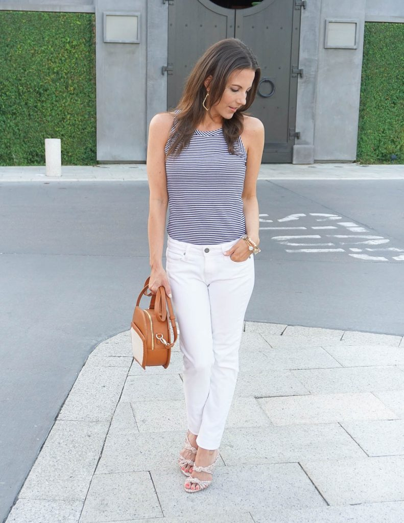 Dressy Casual Summer Outfit | Striped Tank Top | White Skinny jeans | Houston Fashion Blogger Lady in Violet