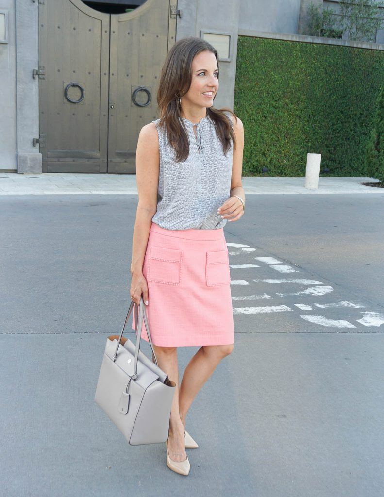 Summer Outfit | Coral Pocket Skirt | Sleeveless Blouse | Houston Fashion Blogger Lady in Violet