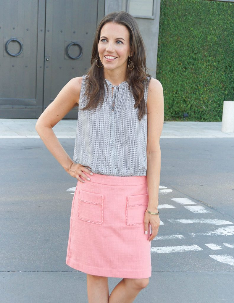 Office Outfit | Pink Pencil Skirt | Gray Sleeveless Blouse | Houston Fashion Blogger Lady in Violet