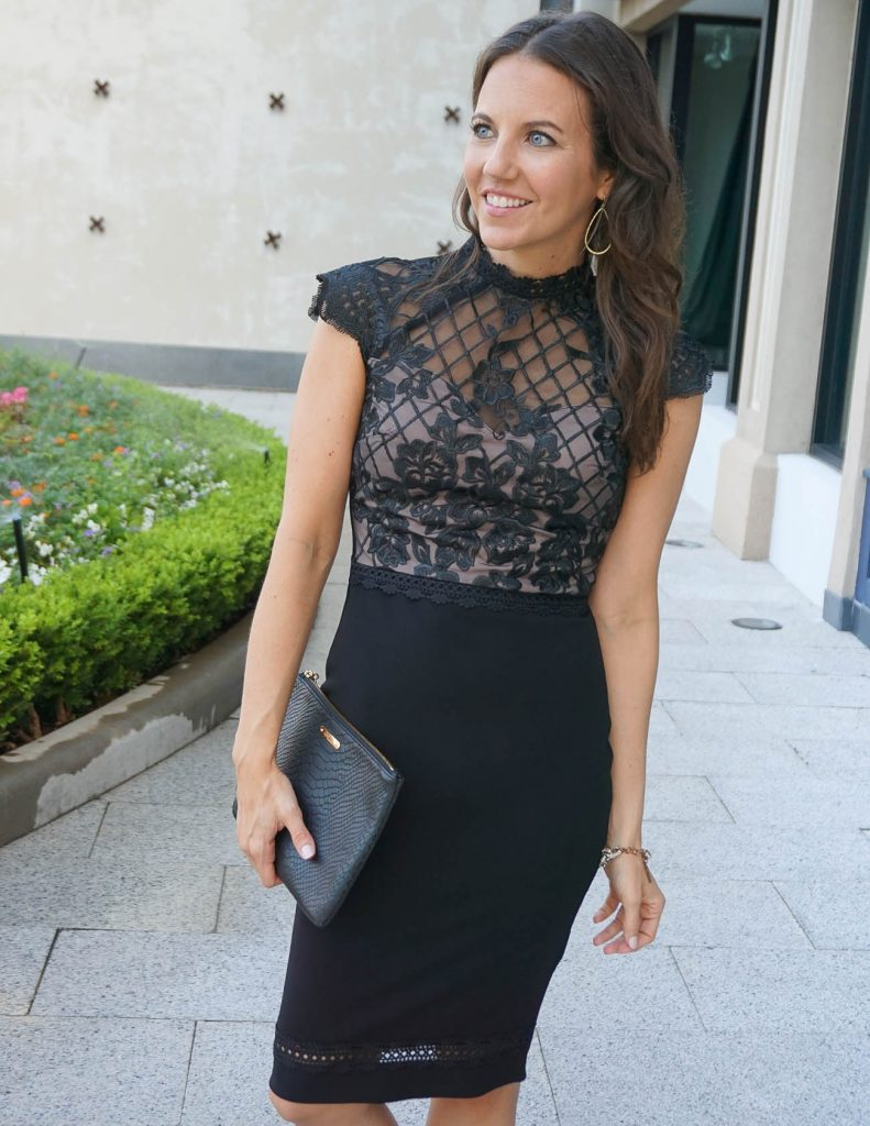 Wedding Guest Dress | Black Lace Dress | Black Clutch | Houston Fashion Blogger Lady in Violet