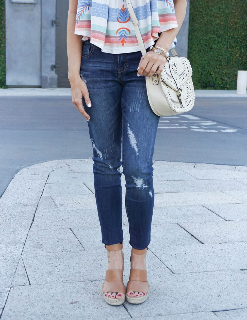 Summer Outfit | Distressed Jeans | Brown Wedge Sandals | Houston Fashion Blogger Lady in Violet