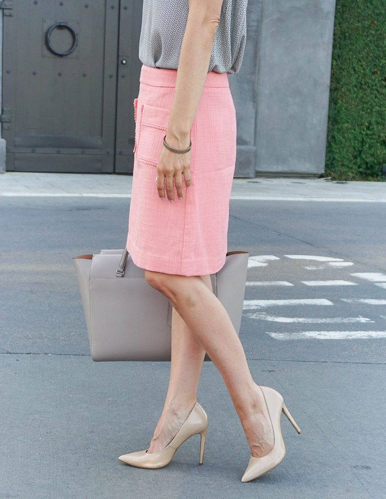 Summer Outfit | Pink Work Skirt | Nude Heels | Houston Fashion Blogger Lady in Violet
