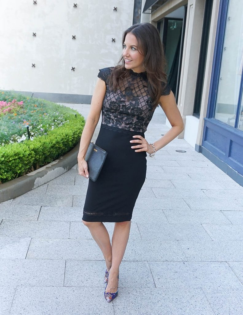 What to Wear to a Fall Wedding   Black Lace Bodycon Dress   Floral Heels   Houston Fashion Blogger Lady in Violet