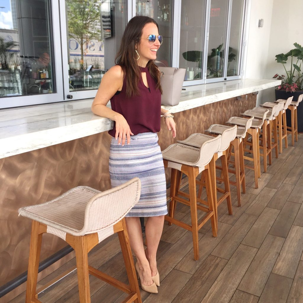 Work Summer Outfit | Striped Pencil Skirt | Sleeveless Maroon Top | Houston Fashion Blogger Lady in Violet