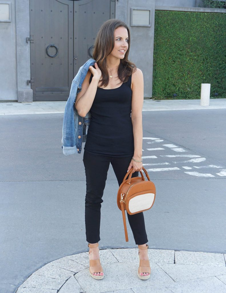 Summer Outfit | All Black Outfit | Brown Crossbody Bag | Houston Fashion Blogger Lady in Violet