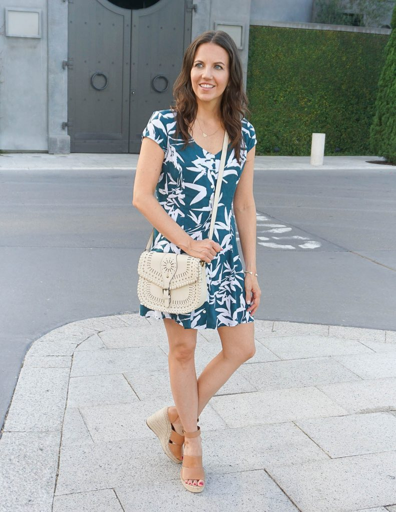 Summer Outfit | Palm Print Dress | Espadrille Wedges | Houston Fashion Blogger Lady in Violet