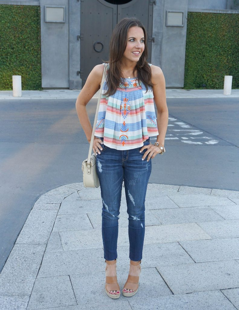 Summer Outfit | Striped Crop Top | Distressed Jeans | Houston Fashion Blogger Lady in Violet