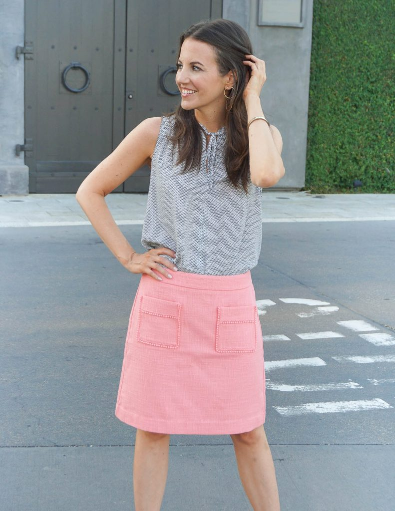 Work Outfit | Pink Pencil Skirt | Gray Top | Houston Fashion Blogger Lady in Violet