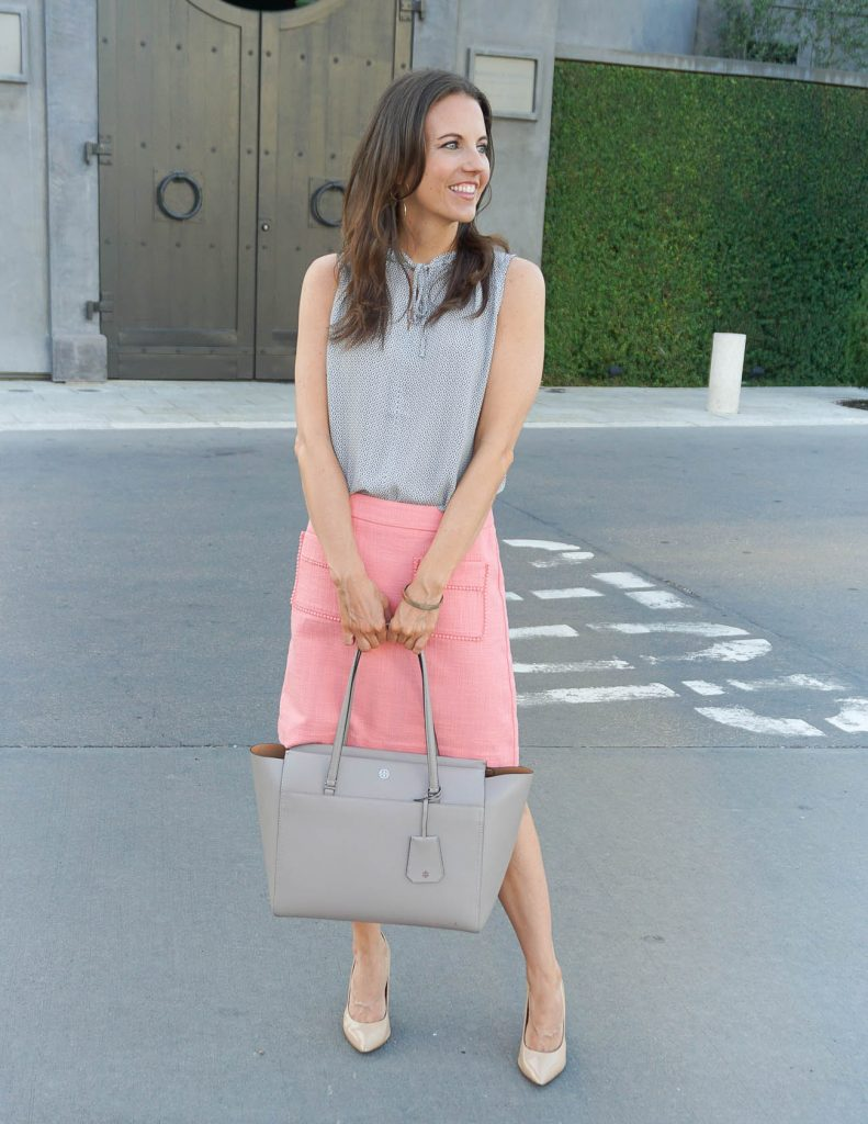 Summer Work Outfit | Pink Pencil Skirt | Tory Burch Tote Bag | Houston Fashion Blogger Lady in Violet