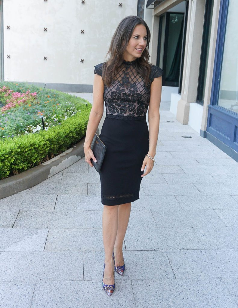 What to Wear to a Summer Wedding | Black Lace Dress | Floral Heels | Houston Fashion Blogger Lady in Violet
