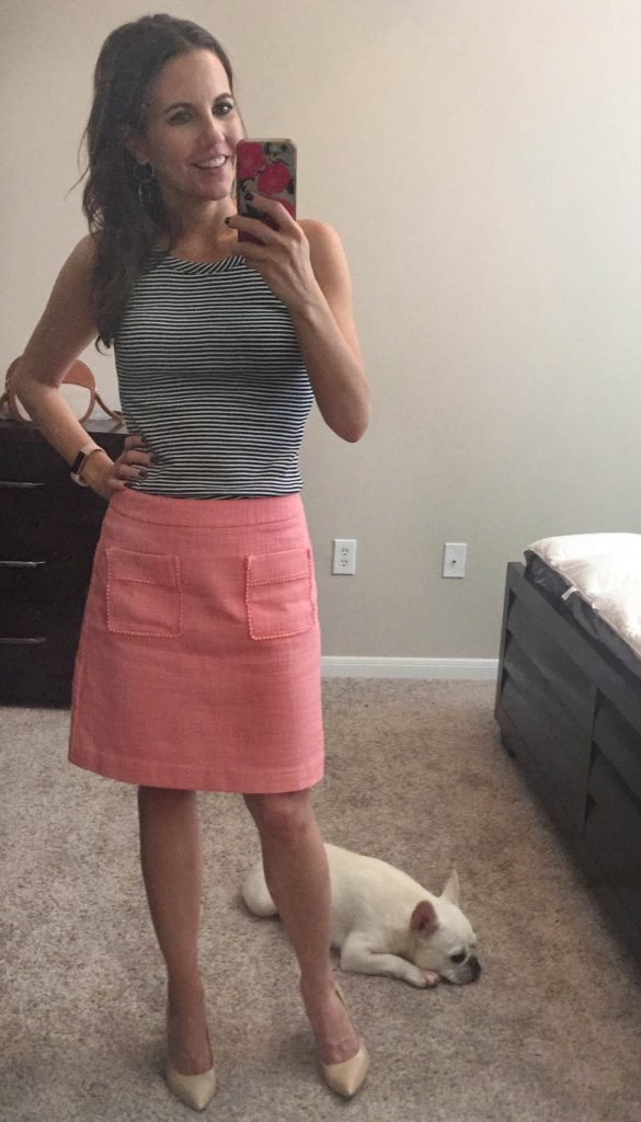 Summer Work Outfit | Striped Tank Top | Pink Skirt | Houston Fashion Blogger Lady in Violet