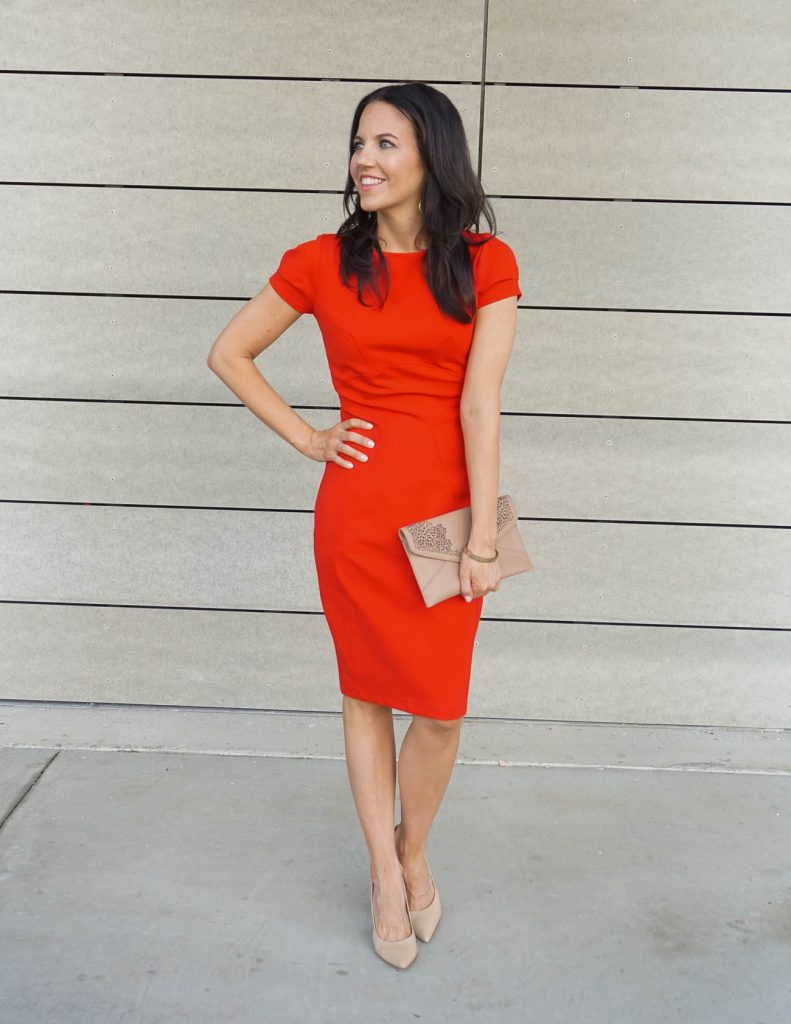 Date Night Outfit | Little Red Dress | Nude Clutch | Houston Fashion Blogger Lady in Violet