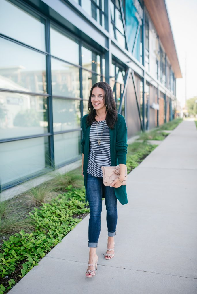 fall outfit | long green cardigan | striped tee | Houston Fashion Blogger Lady in Violet