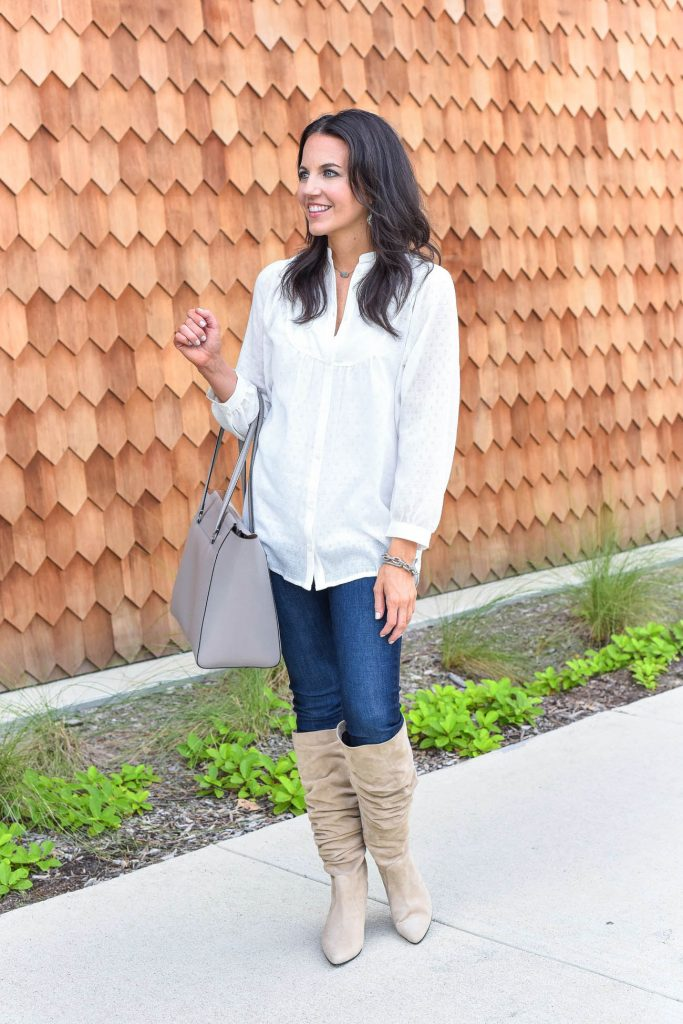 fall outfit | white blouse | stuart weitzman suede boots | Houston Fashion Blogger Lady in Violet