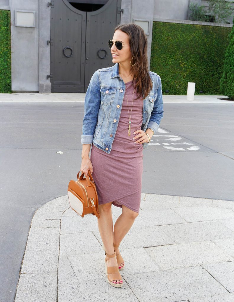 Summer Outfit | Denim Jacket | Ruched Tank Dress | Houston Fashion Blogger Lady in Violet