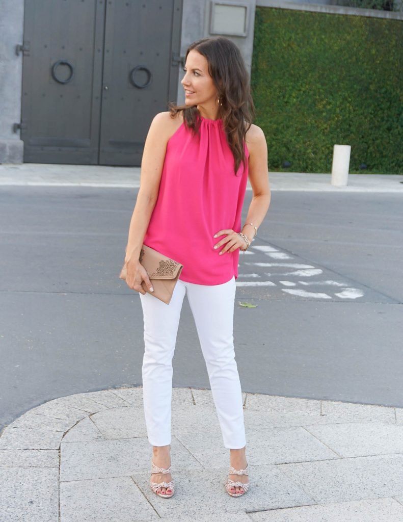 Summer Outfit | Pink Halter Top | White Jeans | Houston Fashion Blogger Lady in Violet