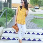 Yellow Floral Top + White Denim